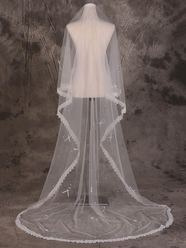 One-tier Ivory Cathedral Bridal Veils with Beading/Applique #LDB03010067