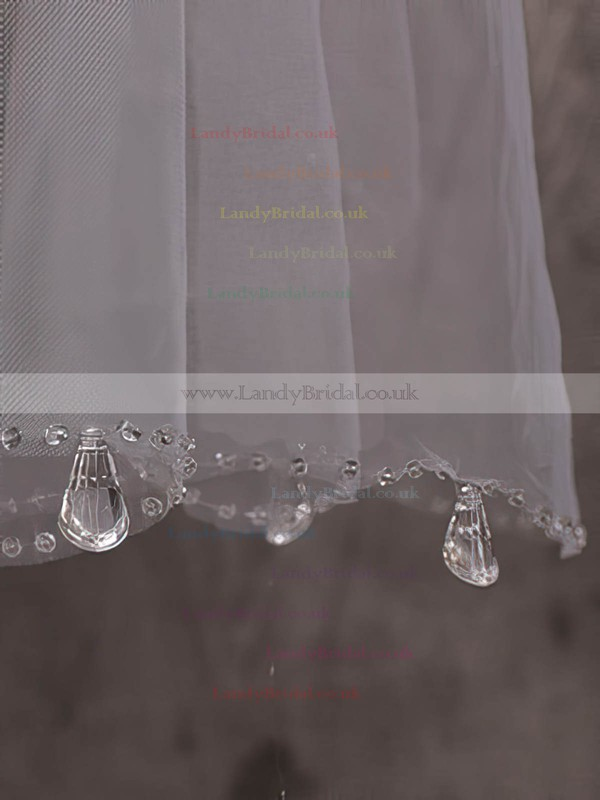Two-tier Ivory Fingertip Bridal Veils with Sequin/Rhinestones