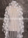 One-tier Ivory Cathedral Bridal Veils with Satin Flower #LDB03010071