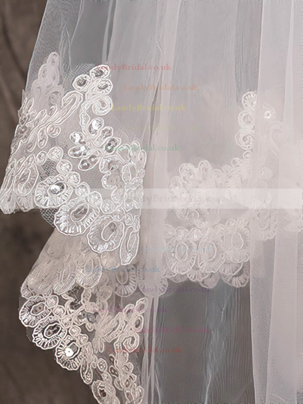 One-tier Ivory Cathedral Bridal Veils with Beading/Applique