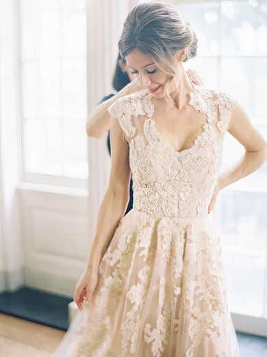 Sweep Train White Lace Tulle Appliques Lace Cap Straps V-neck Wedding Dress #LDB00021495