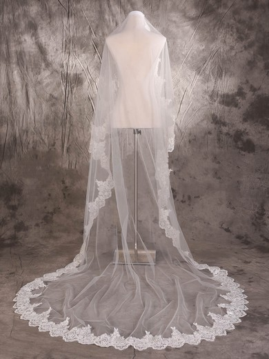 One-tier Ivory Cathedral Bridal Veils with Sequin/Applique #LDB03010075