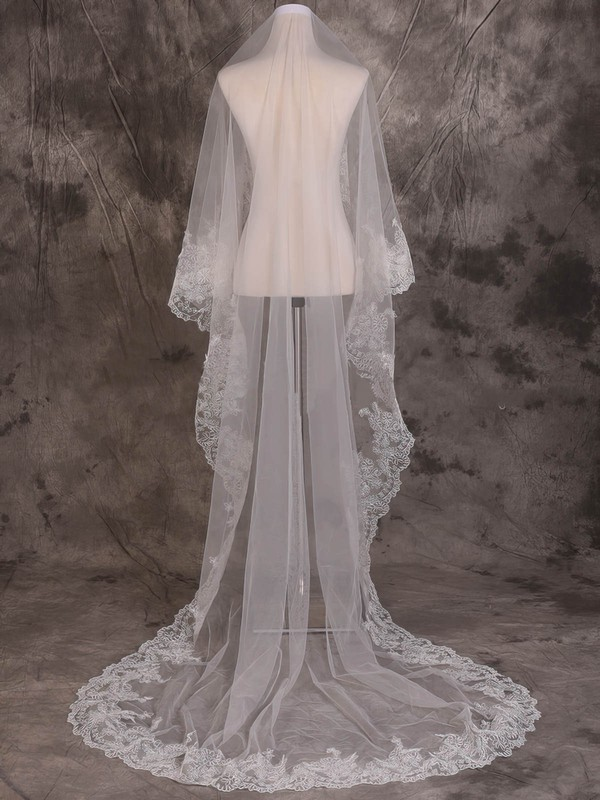 One-tier Ivory Cathedral Bridal Veils with Lace #LDB03010076
