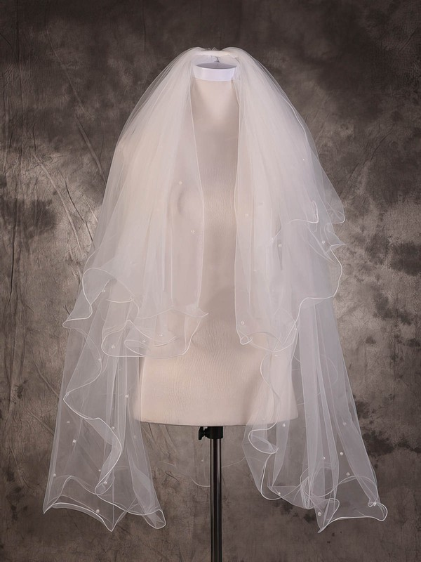 Two-tier Ivory Elbow Bridal Veils with Beading #LDB03010077