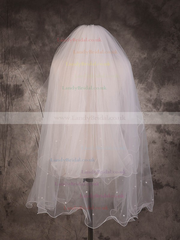 Two-tier Ivory Elbow Bridal Veils with Beading