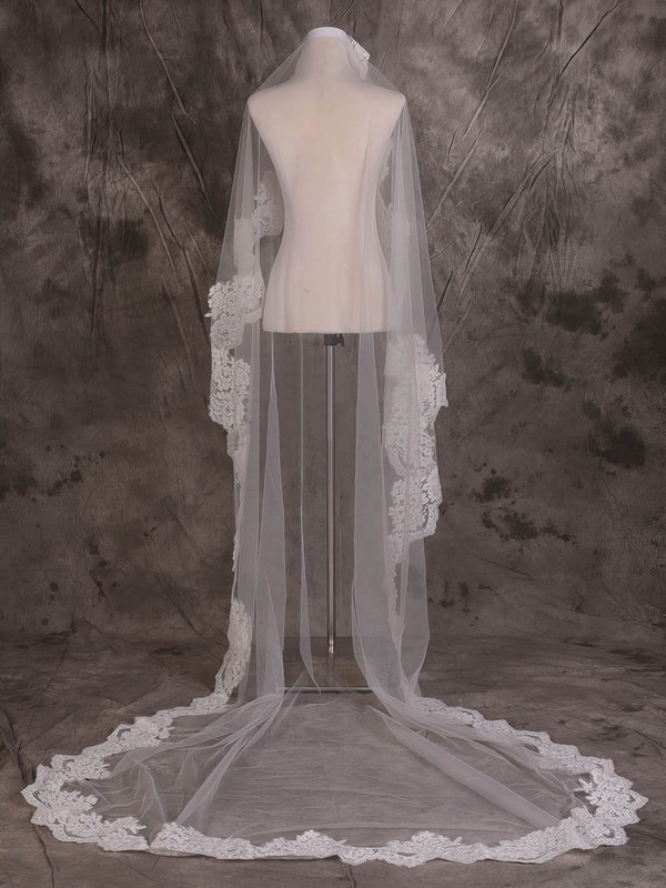 One-tier Ivory Cathedral Bridal Veils with Lace #LDB03010080