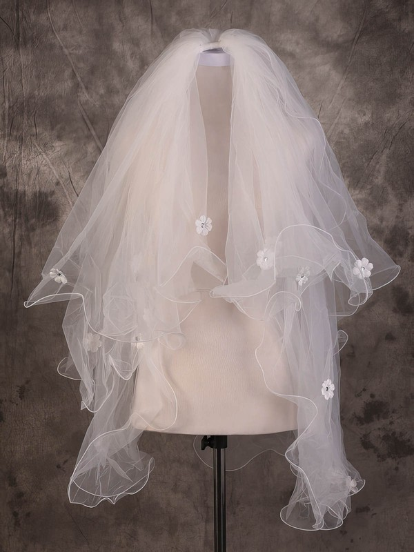 Two-tier Ivory Elbow Bridal Veils with Sequin/Satin Flower #LDB03010082