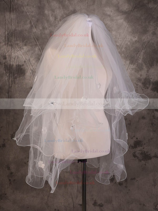Two-tier Ivory Elbow Bridal Veils with Sequin/Satin Flower