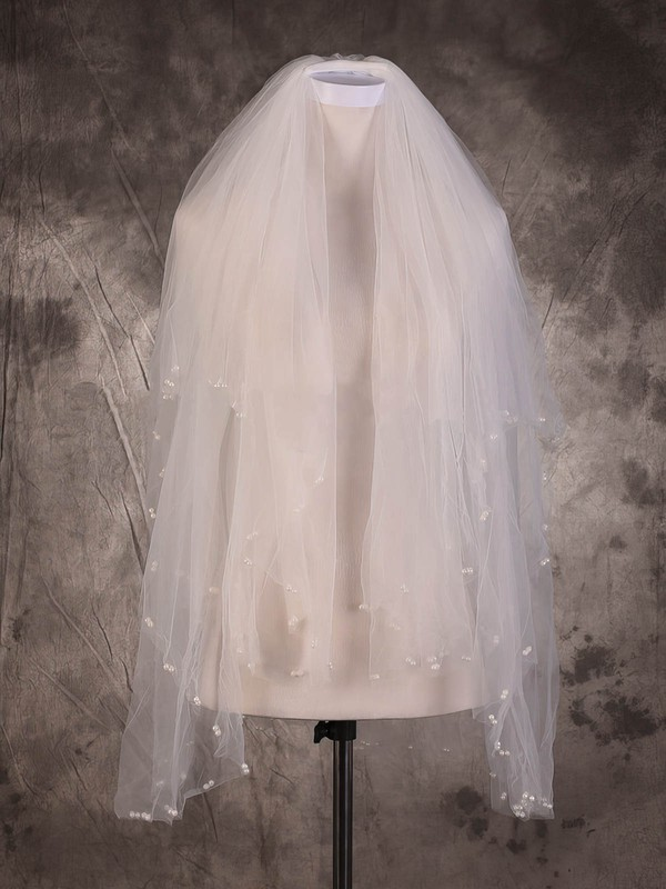 Two-tier Ivory Fingertip Bridal Veils with Faux Pearl #LDB03010083