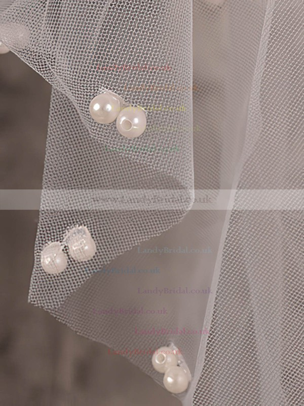 Two-tier Ivory Fingertip Bridal Veils with Faux Pearl