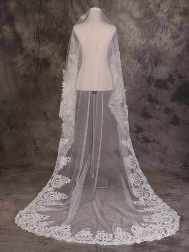 One-tier Ivory Chapel Bridal Veils with Applique #LDB03010085