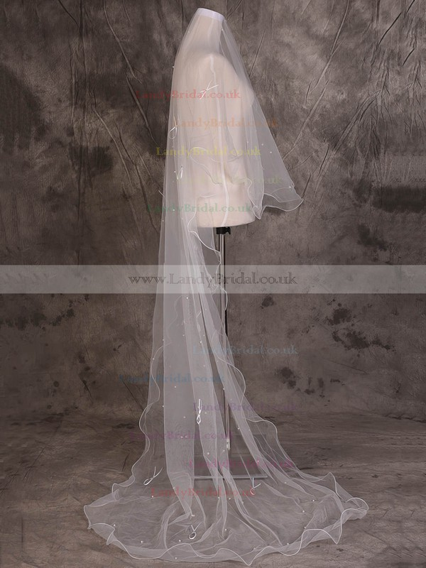 One-tier Ivory Chapel Bridal Veils with Beading/Satin Bow