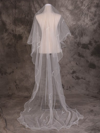 One-tier Ivory Chapel Bridal Veils with Beading/Satin Bow #LDB03010086