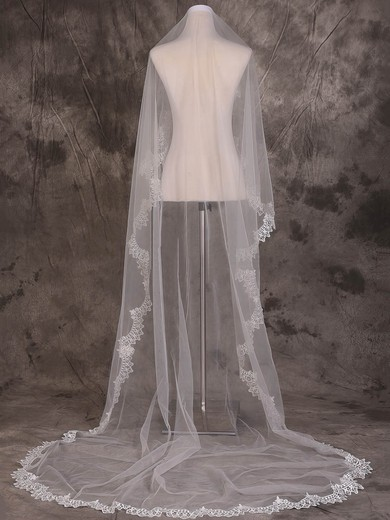 One-tier Ivory Chapel Bridal Veils with Applique #LDB03010087