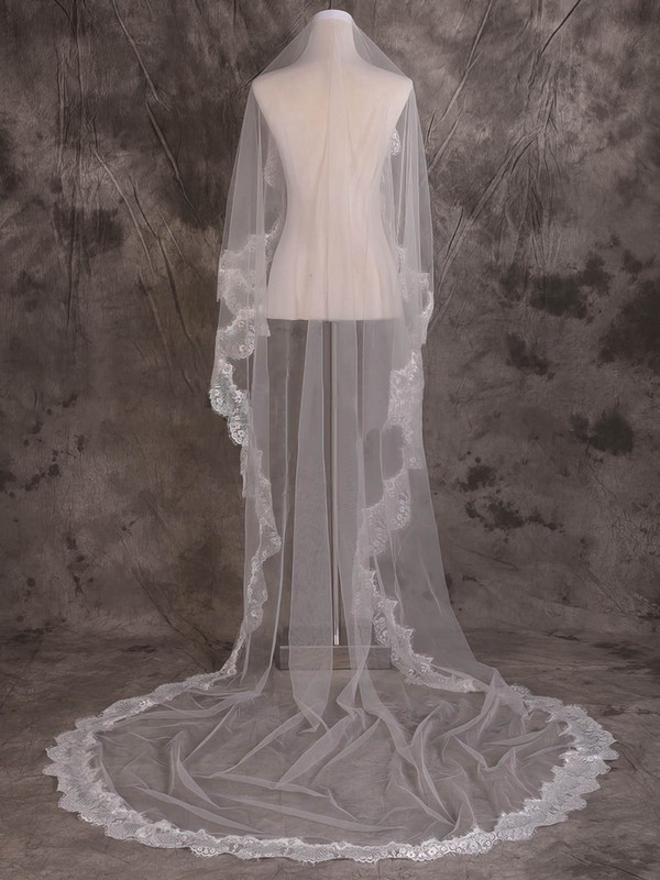 One-tier Ivory Chapel Bridal Veils with Applique #LDB03010088