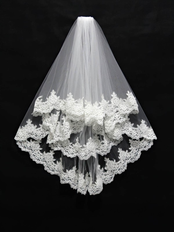 Two-tier White/Ivory Elbow Bridal Veils with Applique
