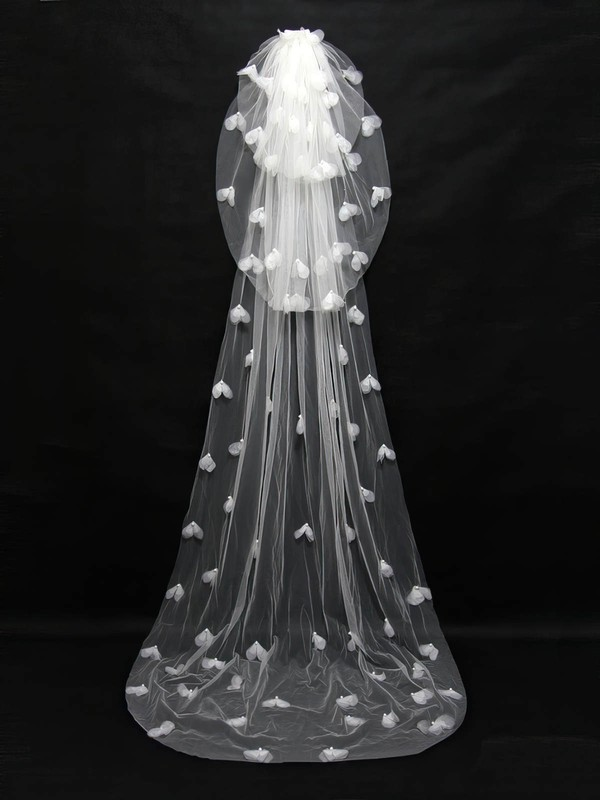 Three-tier Ivory Chapel Bridal Veils with Faux Pearl/Satin Flower #LDB03010091