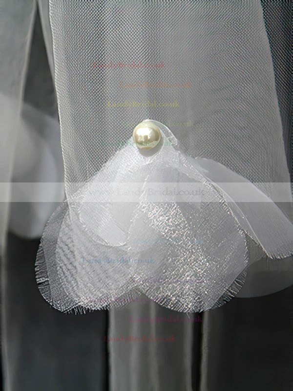 Three-tier Ivory Chapel Bridal Veils with Faux Pearl/Satin Flower