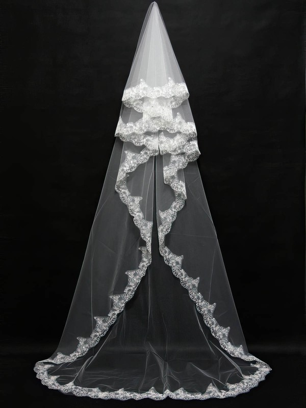 Three-tier Ivory Chapel Bridal Veils with Beading #LDB03010092