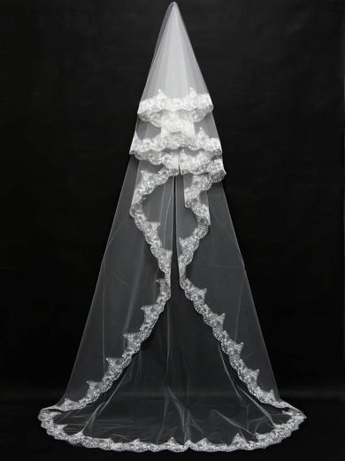 Three-tier Ivory Chapel Bridal Veils with Beading #LDB03010092
