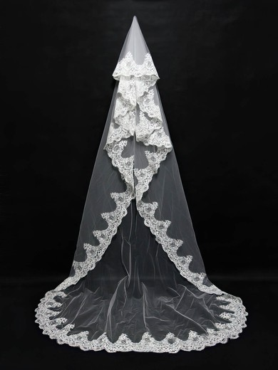 One-tier Ivory Chapel Bridal Veils with Applique #LDB03010094