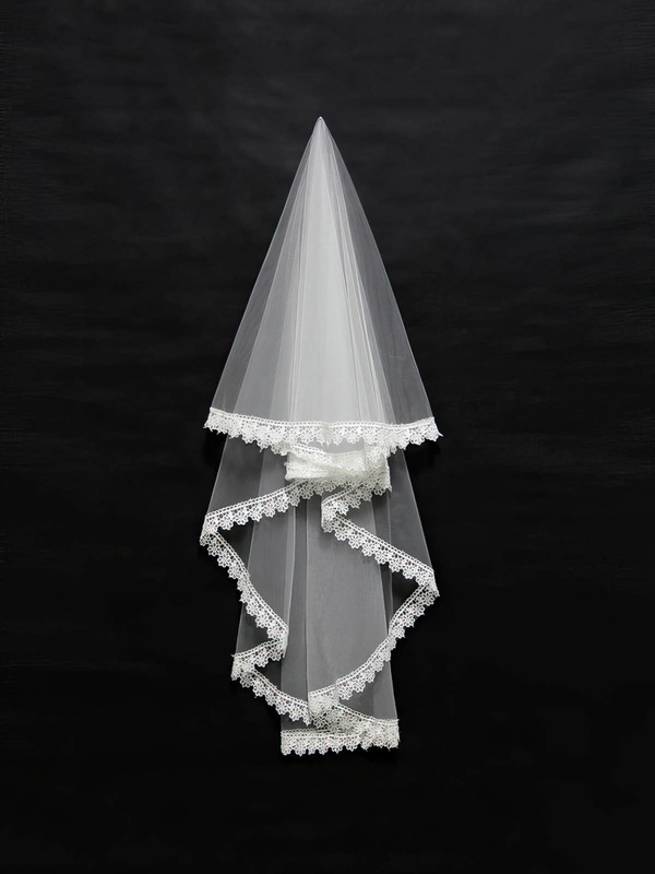 Two-tier Ivory Shoulder Veils with Applique #LDB03010095