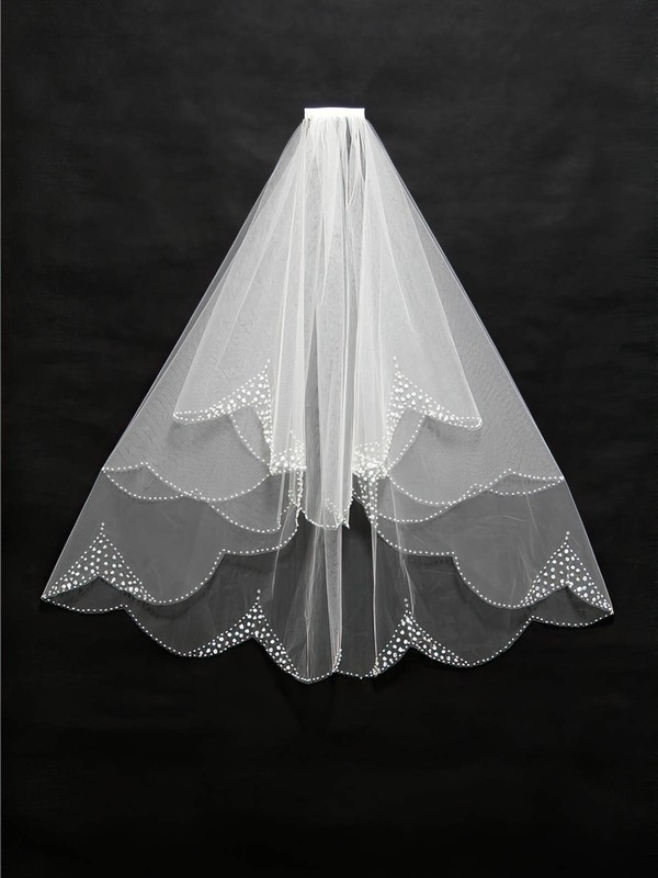 Three-tier Ivory Elbow Bridal Veils with Beading #LDB03010097