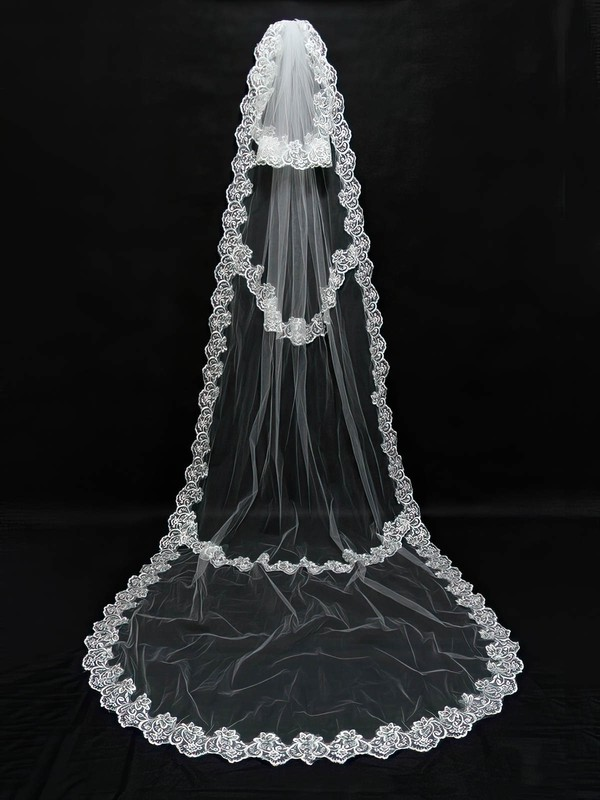 Two-tier Ivory/White Cathedral Bridal Veils with Applique #LDB03010098