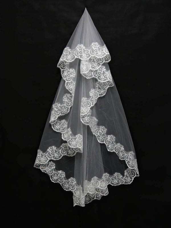 One-tier White/Ivory Waltz Bridal Veils with Applique #LDB03010099