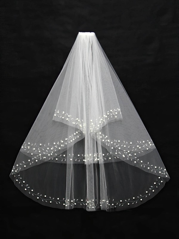 Two-tier White/Ivory Elbow Bridal Veils with Beading/Faux Pearl #LDB03010102