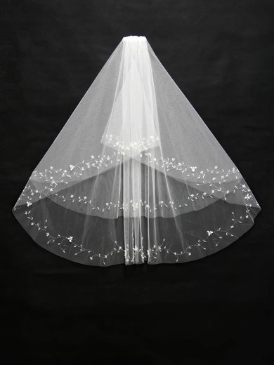 Two-tier White/Ivory Elbow Bridal Veils with Beading/Sequin #LDB03010105