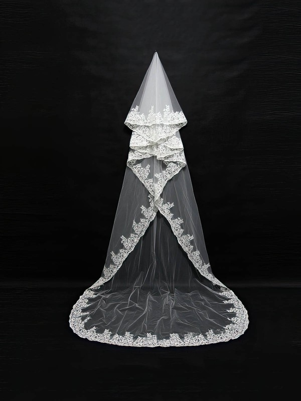 One-tier White/Ivory Cathedral Bridal Veils with Applique