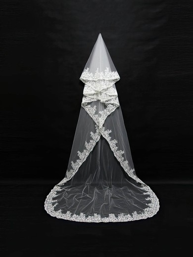 One-tier White/Ivory Cathedral Bridal Veils with Applique #LDB03010106