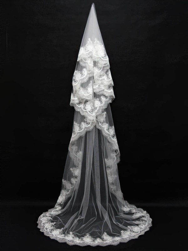 One-tier White/Ivory Chapel Bridal Veils with Sequin