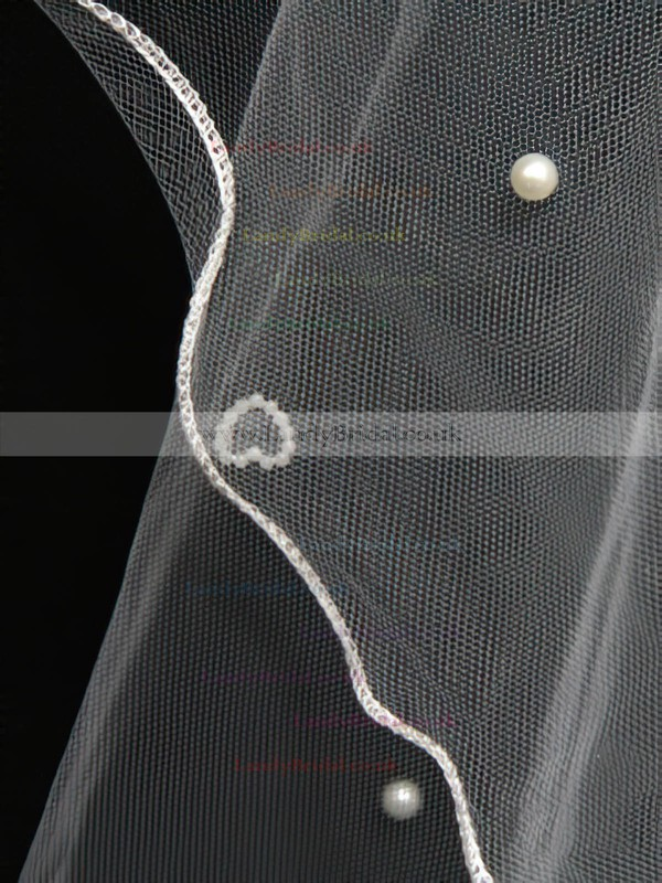 One-tier White/Ivory Chapel Bridal Veils with Faux Pearl