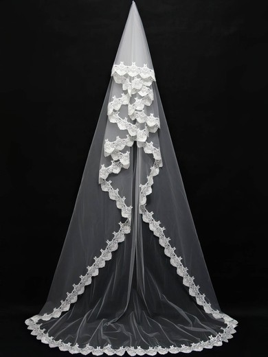 One-tier White/Ivory Chapel Bridal Veils with Lace #LDB03010110