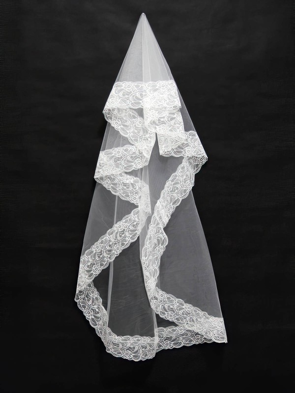 One-tier White/Ivory Elbow Bridal Veils with Lace