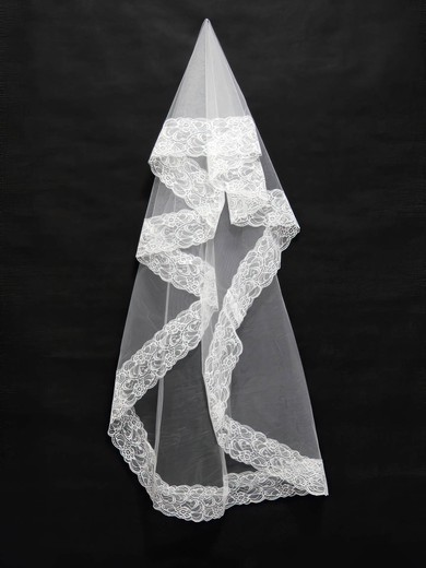 One-tier White/Ivory Elbow Bridal Veils with Lace #LDB03010111