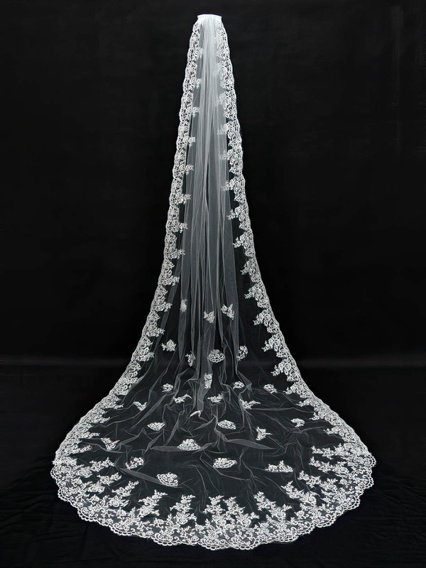 One-tier White/Ivory Cathedral Bridal Veils with Applique #LDB03010112
