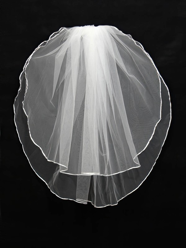 Two-tier White Shoulder Veils with Ribbon #LDB03010115