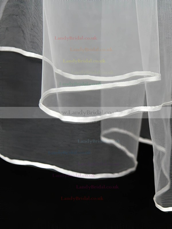 Two-tier White Shoulder Veils with Ribbon