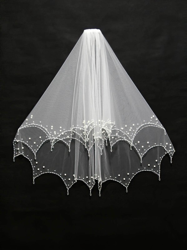 Two-tier Ivory/White Elbow Bridal Veils with Sequin/Faux Pearl #LDB03010118