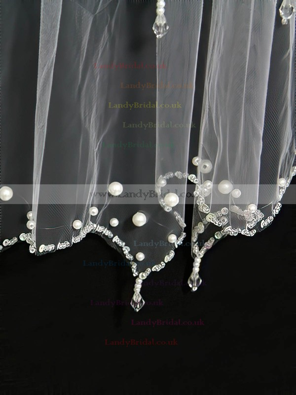 Two-tier Ivory/White Elbow Bridal Veils with Sequin/Faux Pearl