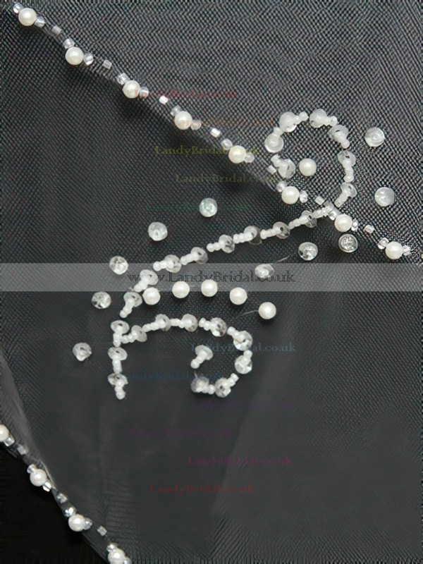 Two-tier White/Ivory Elbow Bridal Veils with Beading/Sequin