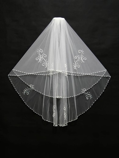 Two-tier White/Ivory Elbow Bridal Veils with Beading/Sequin #LDB03010119