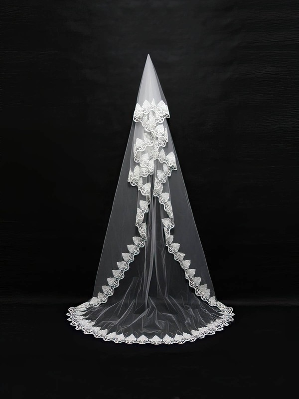 One-tier White/Ivory Chapel Bridal Veils with Beading