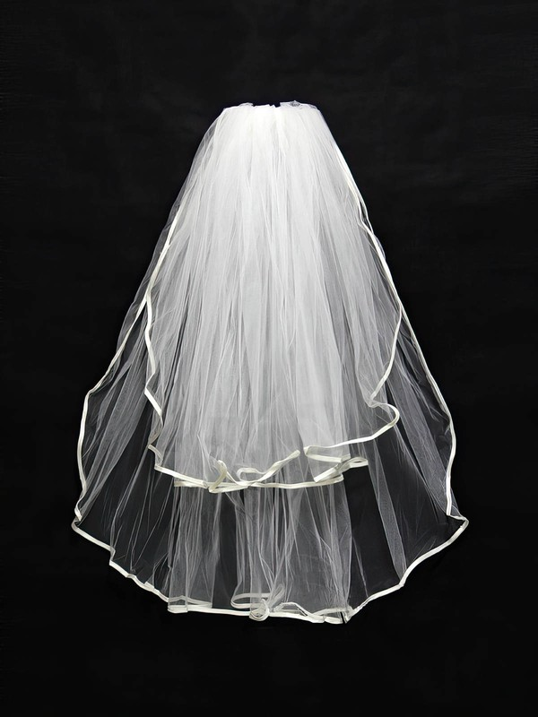 Two-tier White/Ivory Elbow Bridal Veils with Ribbon #LDB03010122
