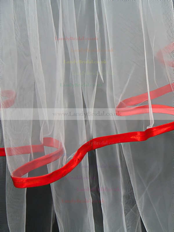 Two-tier White Elbow Bridal Veils with Ribbon