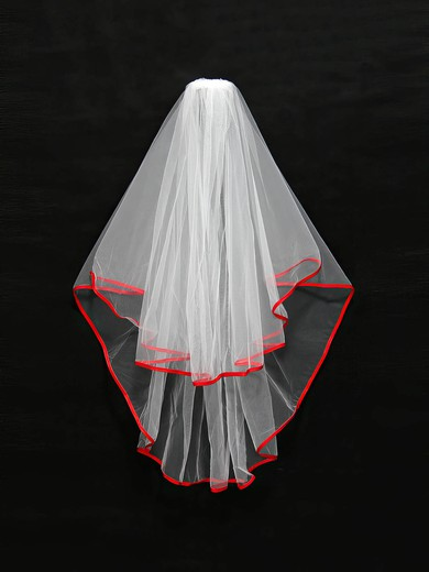 Two-tier White Elbow Bridal Veils with Ribbon #LDB03010123