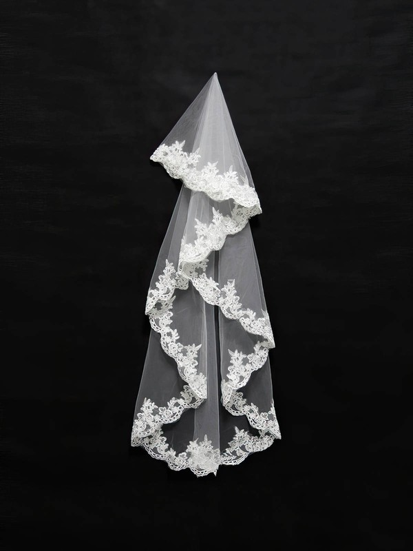 One-tier Ivory/White Elbow Bridal Veils with Applique #LDB03010125